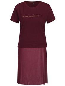 Vínové tričko s potlačou a všitou priesvitnou časťou ONLY Skyr