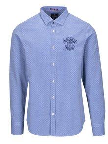 Tmavomodrá pánska vzorovaná košeľa s výšivkou Jimmy Sanders