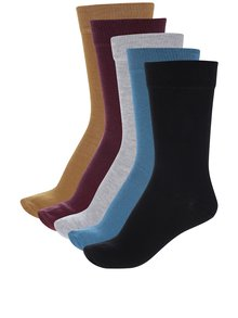 Súprava piatich párov pánskych ponožiek vo vínovej a horčicovej farbe M&Co