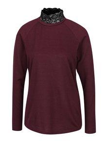 Vínový sveter s čipkovým golierom ONLY Elcos