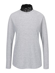 Svetlosivý melírovaný sveter s čipkovým golierom ONLY Elcos