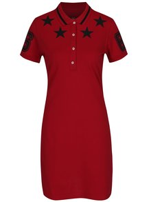 Červené polo šaty s potlačou hviezd Jimmy Sanders