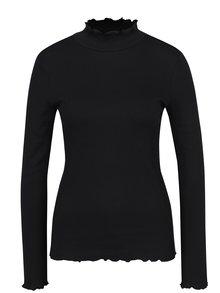 Čierne tričko so stojačikom ONLY Ella
