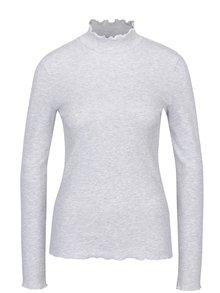 Svetlosivé melírované tričko so stojačikom ONLY Ella