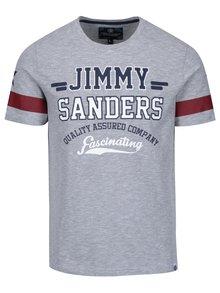 Šedé pánské žíhané tričko s potiskem Jimmy Sanders