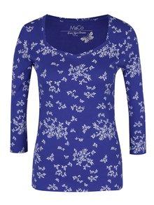 Modré dámské tričko s 3/4 rukávem a potiskem lístků M&Co