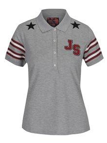 Šedé dámské žíhané polo tričko s potiskem Jimmy Sanders