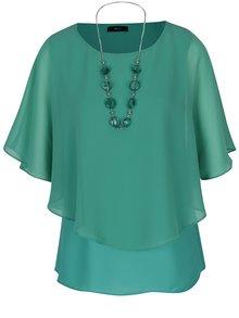 Zelená volná halenka s netopýřími rukávy a náhrdelníkem M&Co
