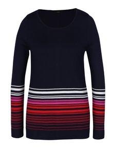 Tmavomodrý dámsky sveter s pruhmi a gombíkmi na chrbte M&Co