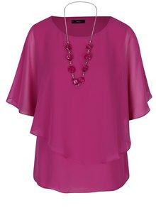 Růžová volná halenka s netopýřími rukávy a náhrdelníkem M&Co