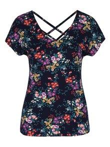 Tmavomodré dámske kvetované tričko s pásikmi na chrbte M&Co