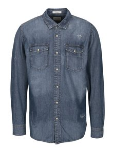 Tmavomodrá rifľová košeľa s potrhaným efektom Jack & Jones Fernley