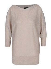 Béžový třpytivý dámský svetr s průstřihy na ramenou M&Co