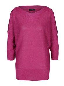 Ružový trblietavý dámsky sveter s prestrihmi na ramenách M&Co