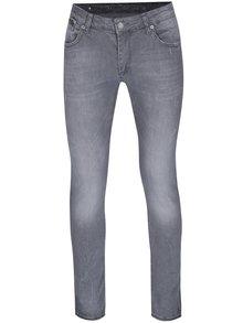 Světle šedé pánské slim fit džíny s opraným efektem Jimmy Sanders