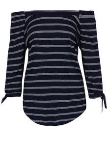 Tmavě modrý pruhovaný top s odhalenými rameny M&Co