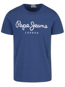 Modré pánské tričko s potiskem Pepe Jeans Original
