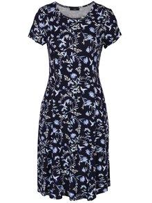 Tmavomodré kvetované šaty s vreckami M&Co