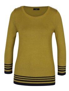 Žltozelený dámsky sveter s ozdobnými gombíkmi M&Co