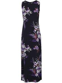 Tmavomodré kvetované maxišaty bez rukávov M&Co