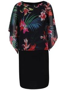Čierne kvetované šaty s prestrihmi na ramenách M&Co