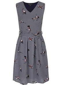 Modro-bílé vzorované šaty s krátkým rukávem Mela London