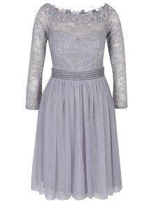 Sivé šaty s odhalenými ramenami a čipkovaným topom Little Mistress