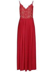 Rochie lungă roșu & bej cu dantelă și pliuri discrete - Little Mistress
