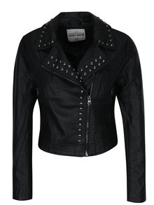 Čierna koženková bunda s ozdobnými plastickými detailmi TALY WEiJL