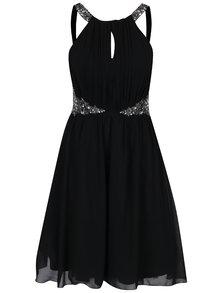 Čierne šaty s prestrihom v dekolte Little Mistress
