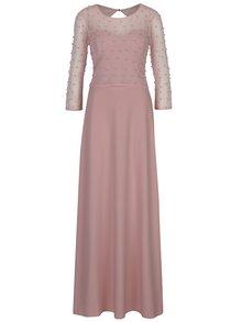 Rochie lungă roz prăfuit cu mâneci 3/4 și perle decorative - Little Mistress