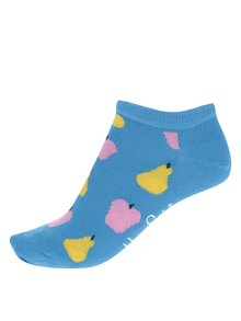 Modré dámske členkové ponožky s motívom ovocia Happy Socks