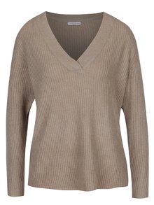 Béžový žebrovaný svetr s véčkovým výstřihem Jacqueline de Yong Gold