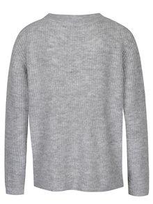 Sivý rebrovaný sveter s véčkovým výstrihom Jacqueline de Yong Gold