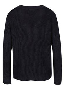 Tmavomodrý rebrovaný sveter s véčkovým výstrihom Jacqueline de Yong Gold