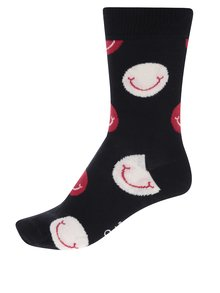 Černé dámské ponožky s motivem smajlíků Happy Socks Smile