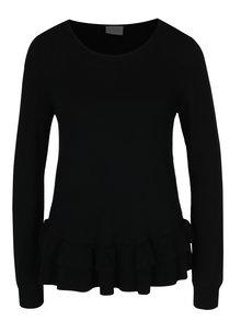 Čierny sveter s volánmi VILA Vicka