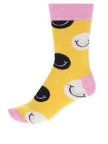 Žlté dámske ponožky s motívom smajlíkov Happy Socks Smile