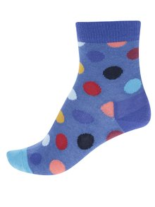 Sada dvou párů dětských vzorovaných ponožek v šedé a modré barvě Happy Socks Big Dot