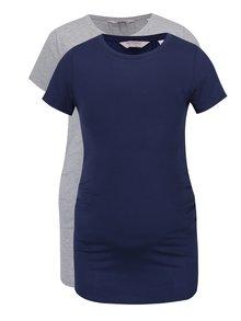 Súprava dvoch tehotenských tričiek v tmavomodrej a sivej farbe Dorothy Perkins Maternity