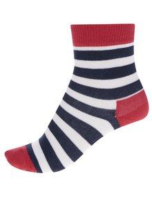Sada dvou párů dětských vzorovaných ponožek v modré a červené barvě Happy Socks Stripe