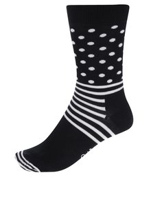 Șosete negre cu buline si dungi albe Happy Socks Stripe Dot
