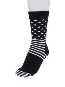 Bílo-černé dámské puntíkované ponožky Happy Socks Stripe Dot