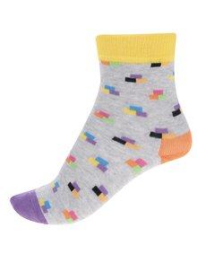 Žlto-sivé detské vzorované ponožky Happy Socks Bricks