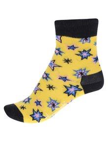 Čierno-žlté detské ponožky s motívom hviezd Happy Socks Bang Bang
