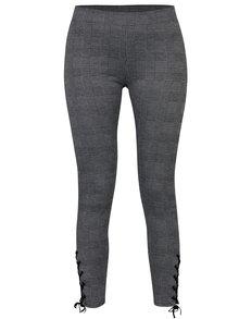 Černo-šedé vzorované legíny se šněrováním na nohavicích TALLY WEiJL