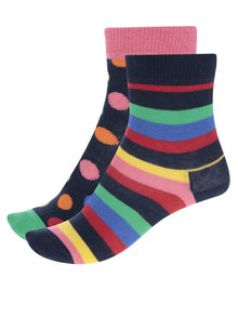 Sada dvoch párov detských vzorovaných ponožiek v modro-ružovej farbe Happy Socks Stripe