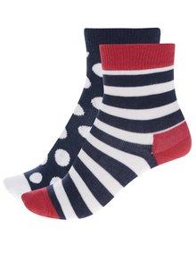 Sada dvoch párov detských vzorovaných ponožiek v modrej a červenej farbe Happy Socks Stripe