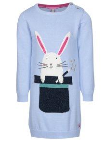 Svetlomodré dievčenské svetrové šaty s králikom Tom Joule Millicent