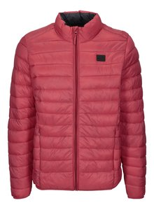 Červená prošívaná bunda s kapsami Blend
